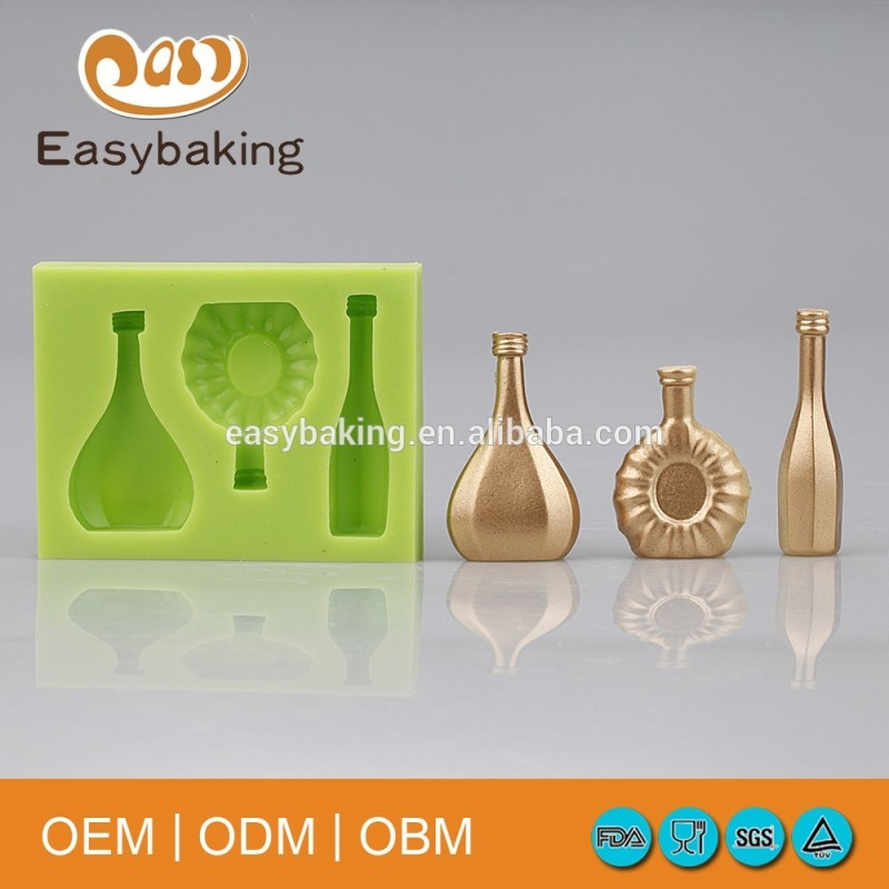 Factory Price A Bottle Of Wine Cake Decorating Silicone Fondant Chocolate Molds