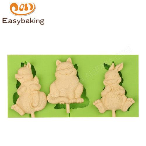 Three rabbits handmade lollipop 3d silicone molds