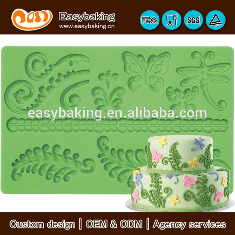Silicone fondant lace mat decorating tools for bakeware