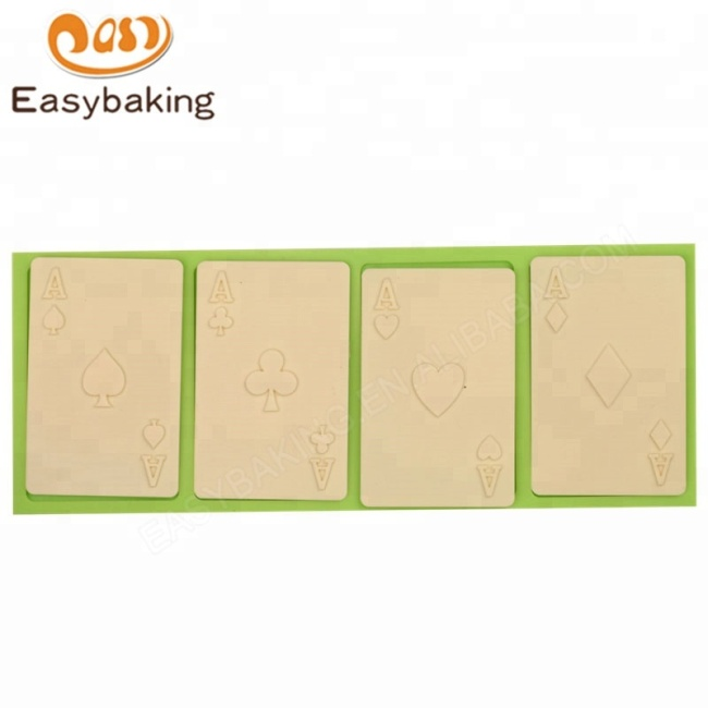 Sugarcraft Playing Cards 4 Aces Poker Four of a Kind Fondant Silicone Mold