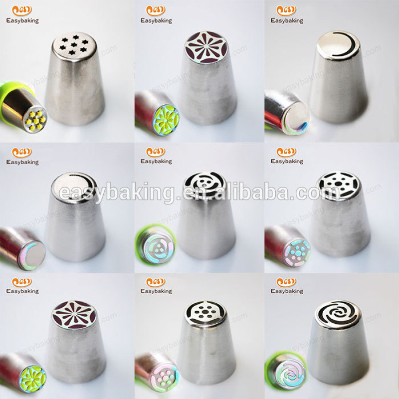 High Quality New 304 Stainless Steel Cake Decorating Russian Flower Icing Nozzle