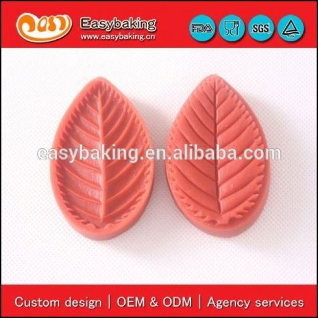 Hot Multiple uses 3D sugar craft veiner leaf fondant silicone mold for home or party
