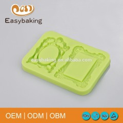 Vintage Double Baroque Picture Frame Silicone Molds For Cake Decorating