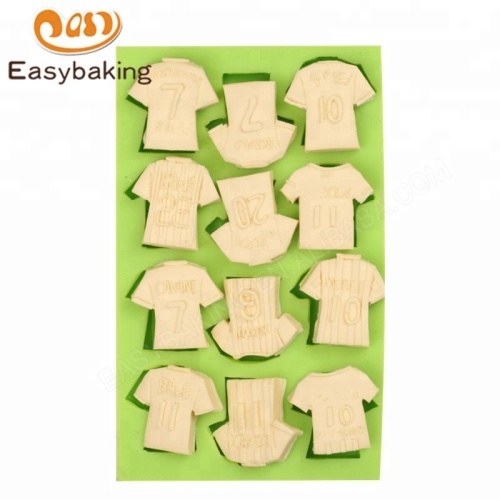Sports Theme Football Shirt Jersey Shape Silicone Chocolate Candy Mold