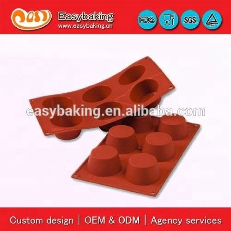 6 Cavities Medium Muffin Cake Bakeware Jelly Pudding Silicone Mold