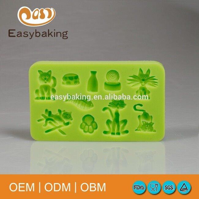 Sugarcraft fondant decorating cat and fish shaped cake mould