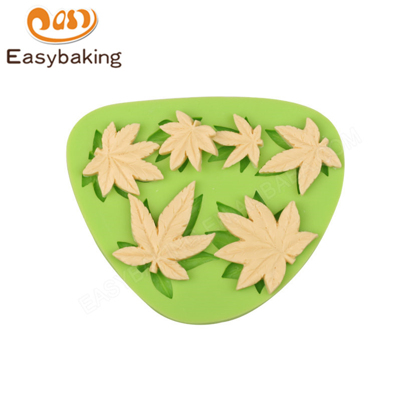 3D maple leaves fondant silicone mold cake silicone fondant mold