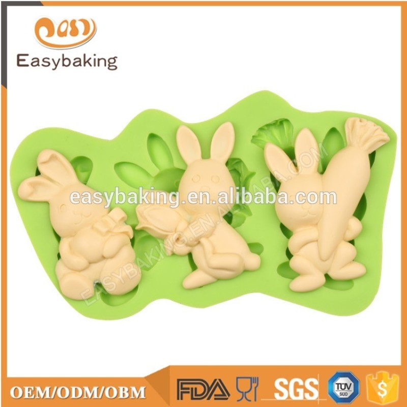 Easter series rabbits shape silicone cupcake mold soap mould