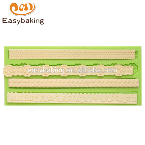 Handmade factory price 192*84*10 fondant cake decoration silicone mould