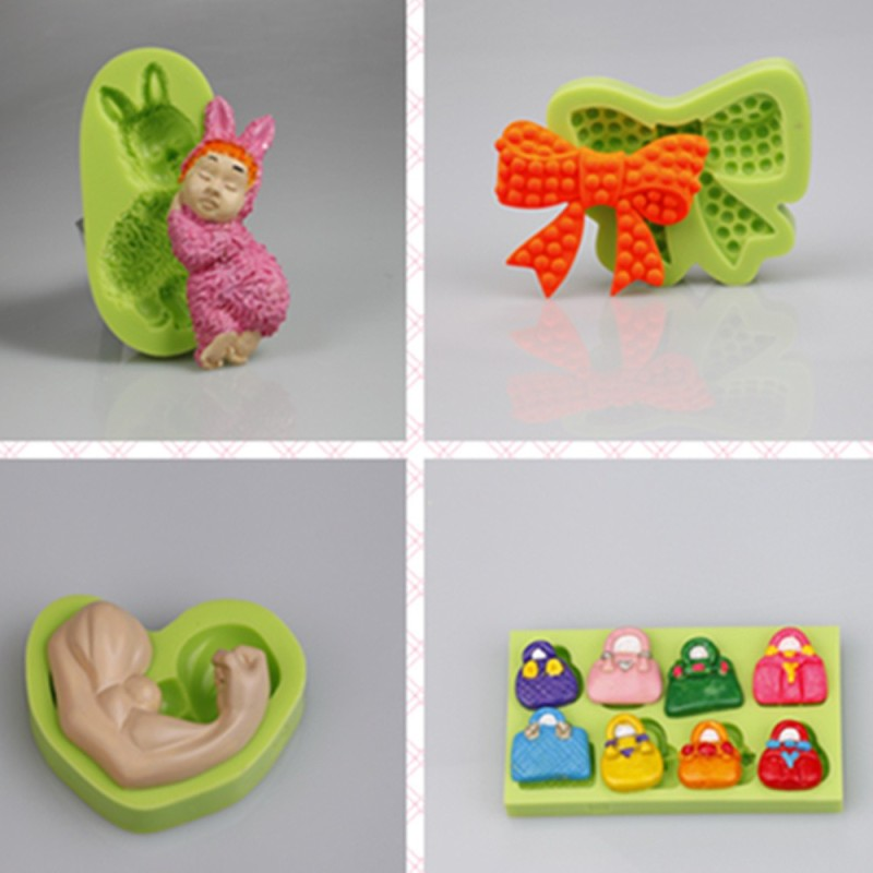 3 Cavities Bow and Shoes Cake Mold Silicone For Gifts