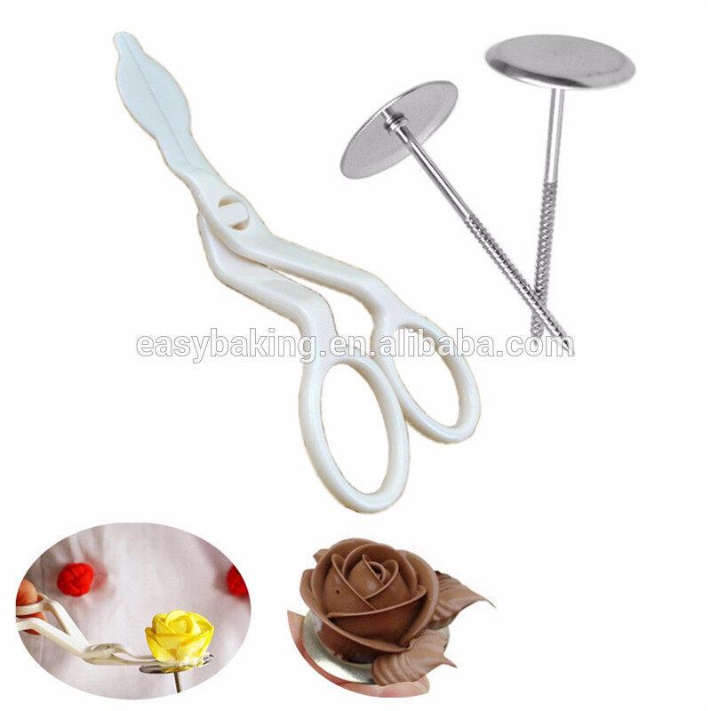 Cream Roses White Plastic Decorating Scissors For Cutting Flowers Cake Pastry Transfer Tool