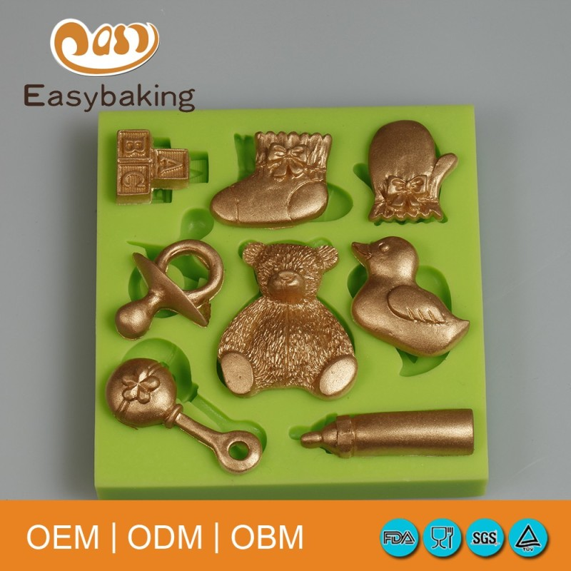 Teddy Baby Sock Gloves Duck Bottle Cake Decorating Baby Series Silicone Fondant Mould
