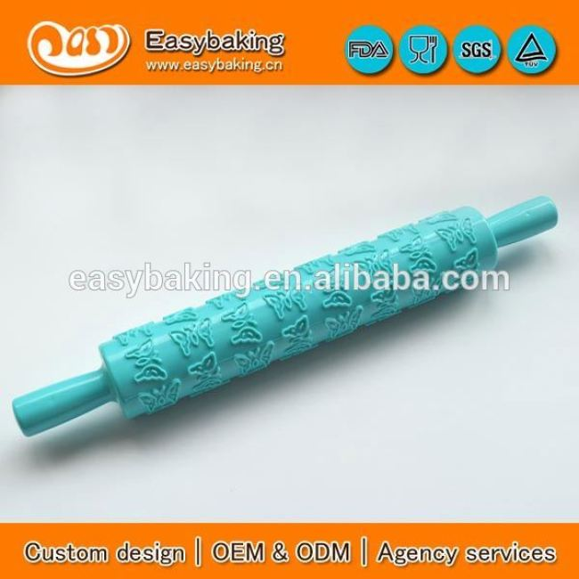 Custom Butterfly Fondant Embossing Plastic Rolling Pin For Cake Decorating