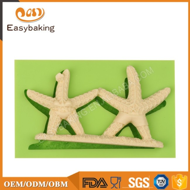 Surfing and Bikini Themed Sugar Pair Starfishes Mould Silicon