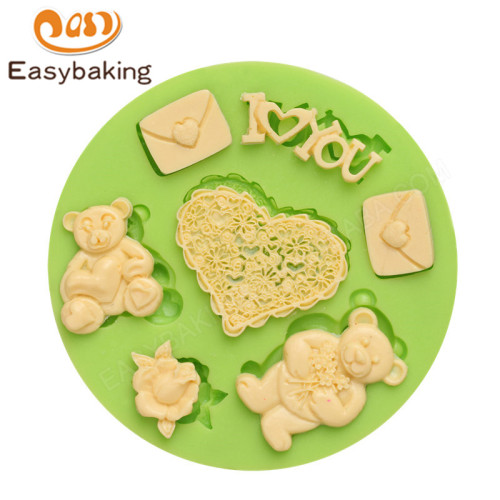 3D LOVE love teddy bear shape fondant cake silicone mold used for decoration
