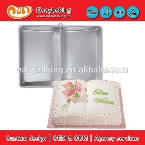 Safe non-toxic heat-resistant book shape aluminium cake pan
