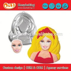 Factory direct sale custom barbie aluminum mold cookie cutter metal cake pan for cake decorating