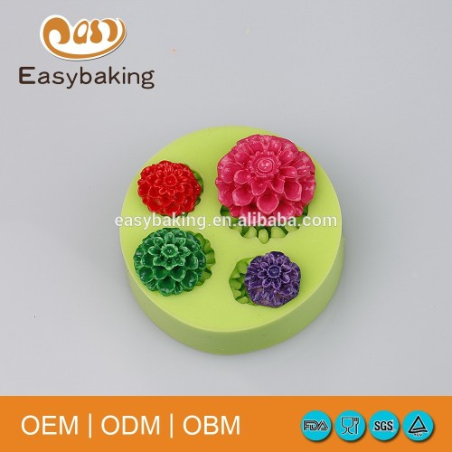 Handmade Peony Flowers Artificial Candy Ice Cubes Cake Decorate Silicone Molds