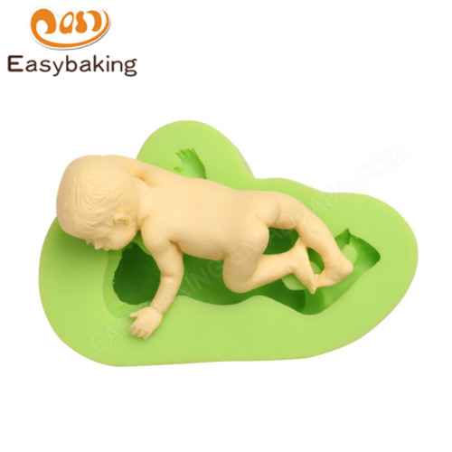 3D Crawling Baby Mini Silicone Mold for Fondant