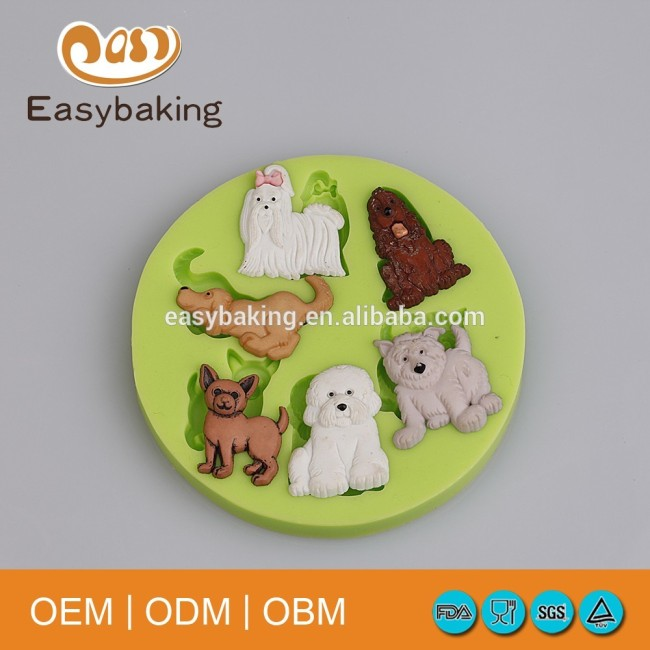Alibaba Made In China Varieties Cute Dog Clay Biscuits Silicone Mould For Arts & Crafts