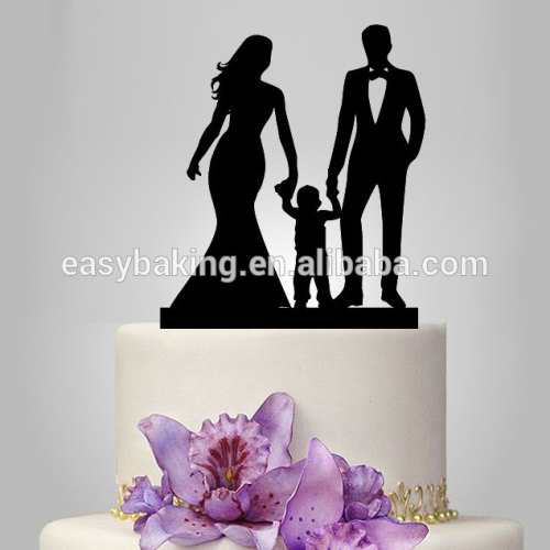Couple with baby silhouette custom child's first birthday cake topper