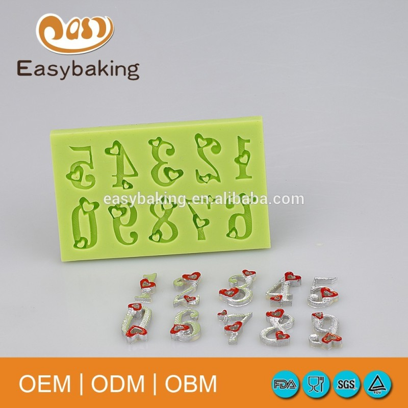 0-9 number cake decoration silicone candle molds