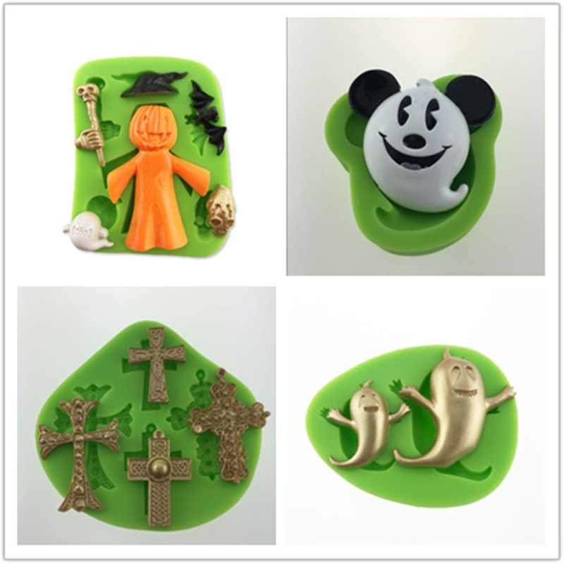 Cute 3D Silicone Decoration Molds With Halloween Skull Dog Shape