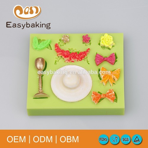 Craft Bow Flowers Travel Cap Trophy Silicone Bakeware Cupcake Molds For Cake Decorate