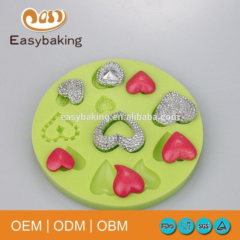 Hot Sale Imbue Diamond Love Heart Shape Necklace Pendant Cake Decoration Silicone Chocolates Mould
