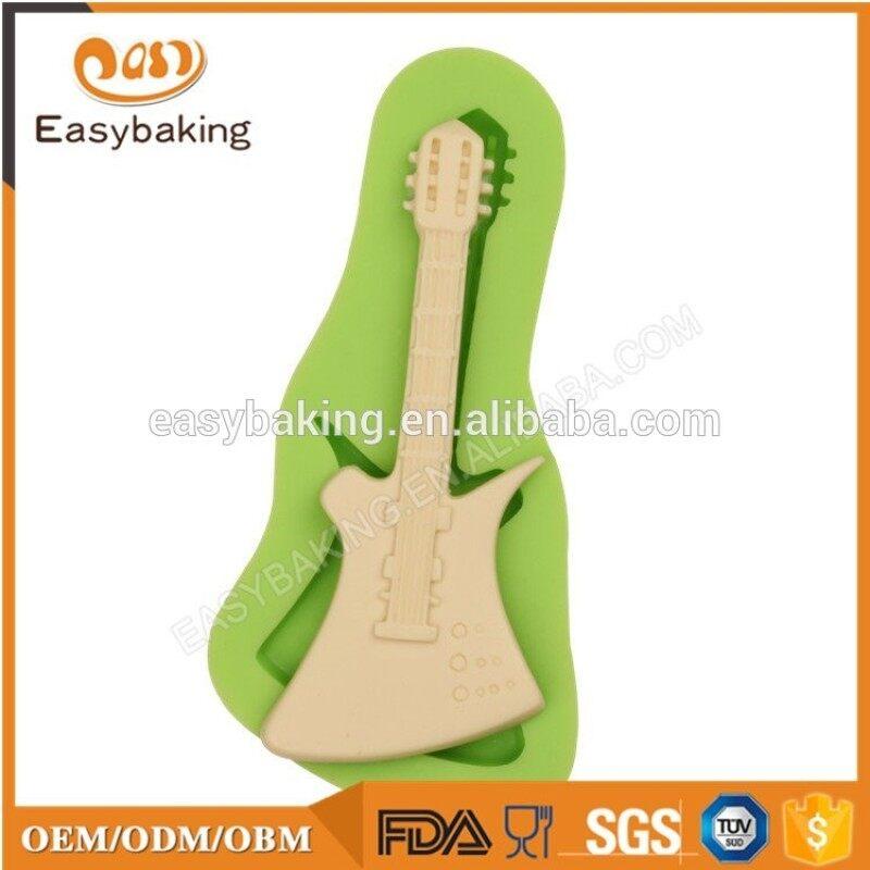 Fashionable guitar shape fondant cake decoration silicone mold