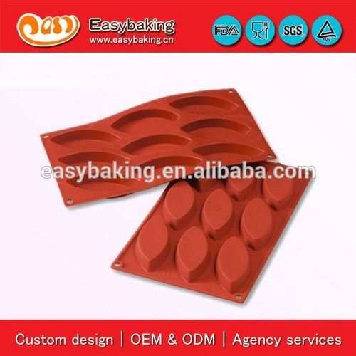 Factory Price 9 Cavities big boat Olive Shape Cake Silicone Pudding Icing Cube Moulds