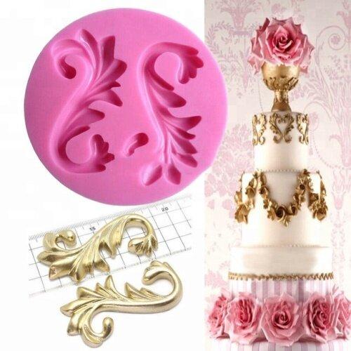 Flourish Scroll Baroque Silicone Fondant Mould Cake Decor