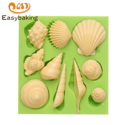 Popular sea snail shell silicone mold for fondant cake decoration