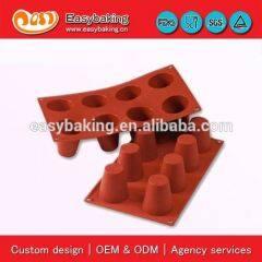 Sugarcraft Fondant 8 Cavities Big Baba Cake Bakeware Jelly Pudding Silicone Mold