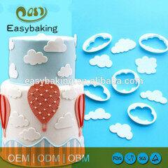 Cute shaped hot sale food grade white plastic cloud cookie cutter set