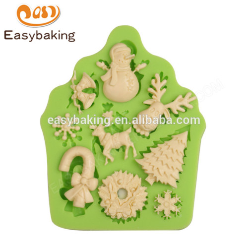 China supplier low price custom christmas soft silicone mold for cake decoration