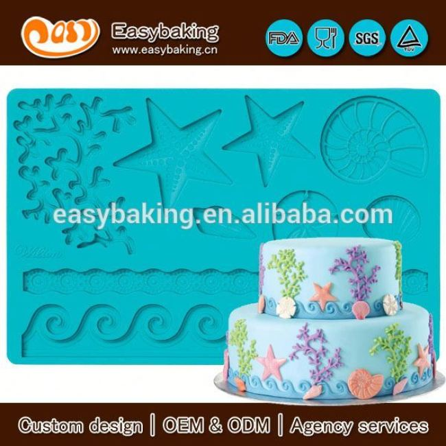 Wholesale Custom 3D Sea Life Gum Paste And Fondant Mold For Cake Decorating