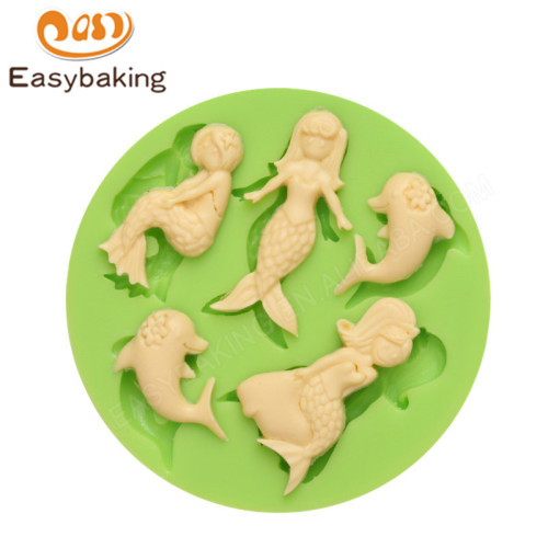 Mermaids and Dolphins Round Silicone Molds Fondant Mould for cake decorating