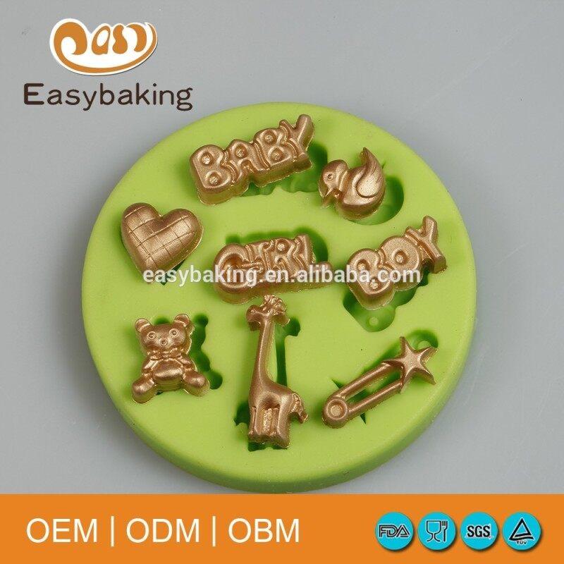 Baby Series Mini Bear Heart Giraffe Duck Shaped Cupcake Silicone Mold Cake Decoration Tool