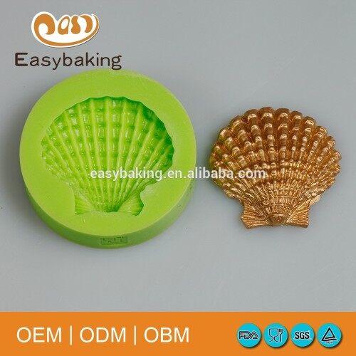 Single cavity sea scallop shell silicone mold for soap