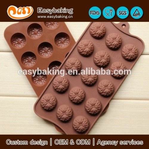 15 flower cavity candy jelly ice cube tray chocolate silicone mold