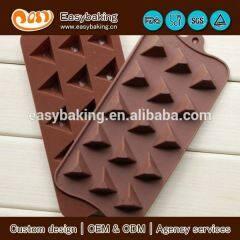 Hot selling custom 15 Cavities pyramid shape silicone chocolate molds,ice cube tray