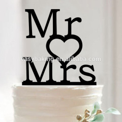 Mr & Mrs with Love Heart Silhouette Wedding Decor Anniversary Acrylic Cake Topper