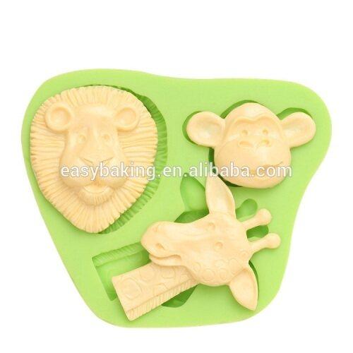 Eco-friendly animal series lion monkey giraffe shape cupcake silicone mold
