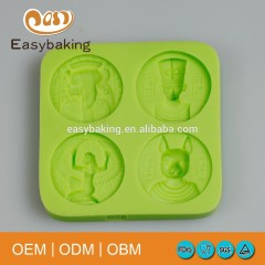 Queen Of Egypt Rabbit God 4 Cavities Coin Shape Silicone Mold