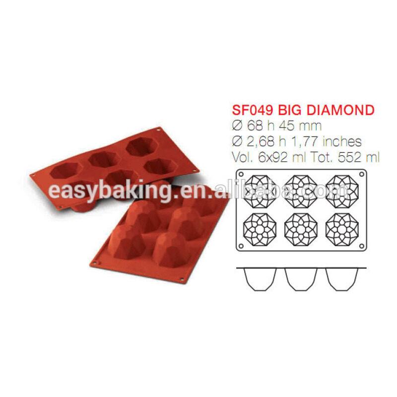 6 Cavity Homemade Chocolate Cupcake Jewel Gemstone Silicone Baking Mold/Pan