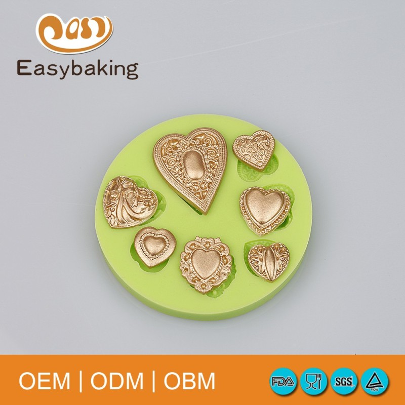 7 Holes Heart Shape Lovely Silicone Fondant Mold For Gifts Cake Mold