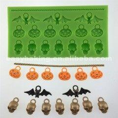 Wholesale Pumpkin Bat Human Skeleton Shaped Clay Pendant Halloween Silicone Mold
