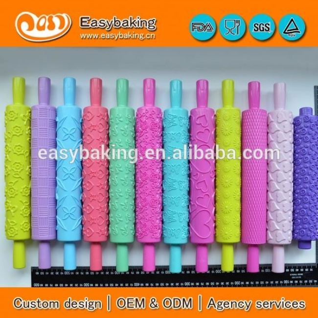 Food grade plastic custom cake fondant silicone rolling pin