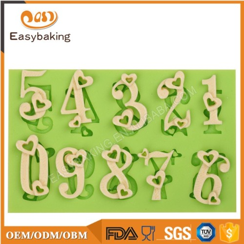Popular 2017 Silicon Number 0 to 9 Cake Decorative Molds